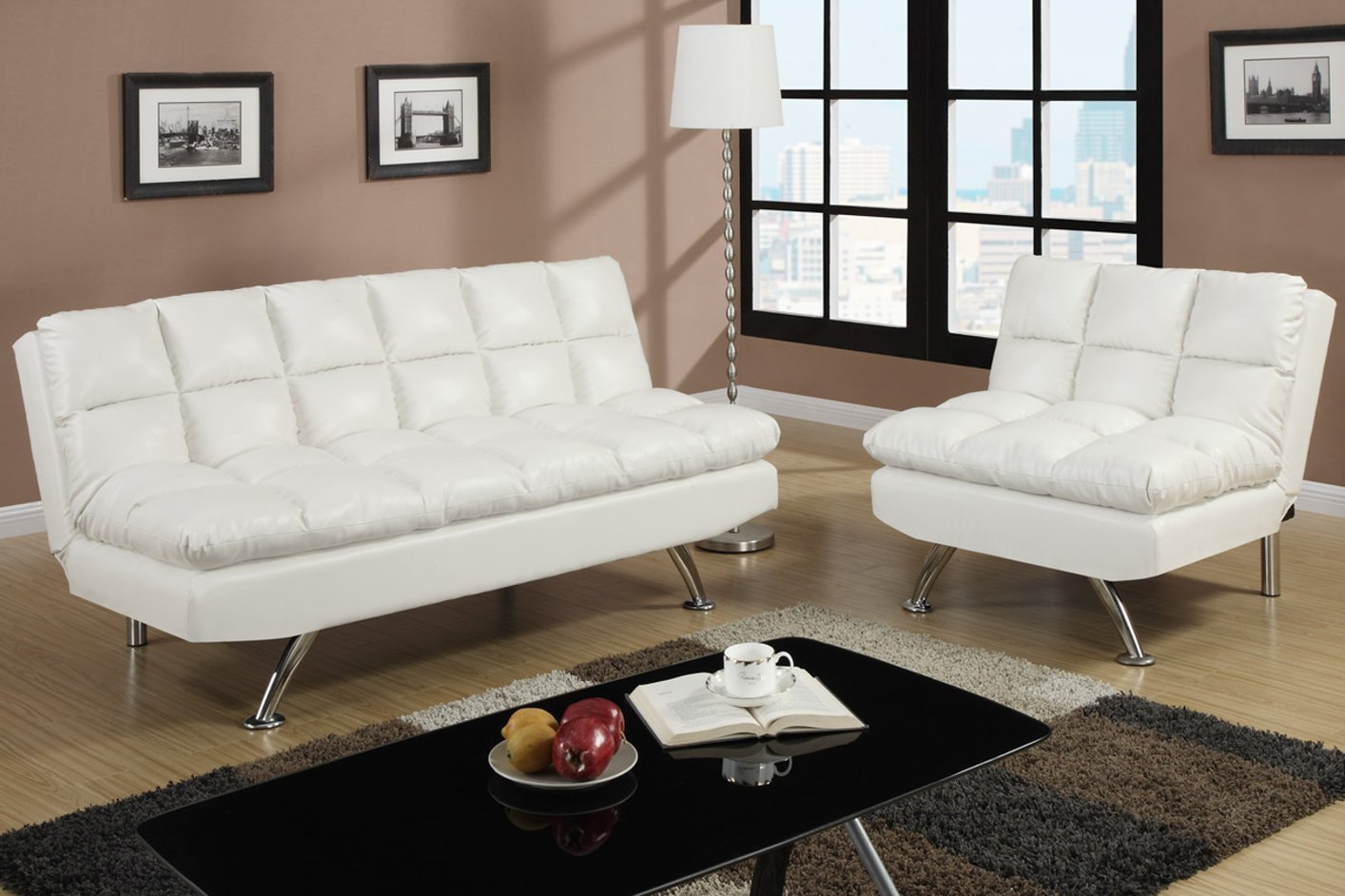 Poundex f7015 white twin size leather sofa bed steal a for White divan bed
