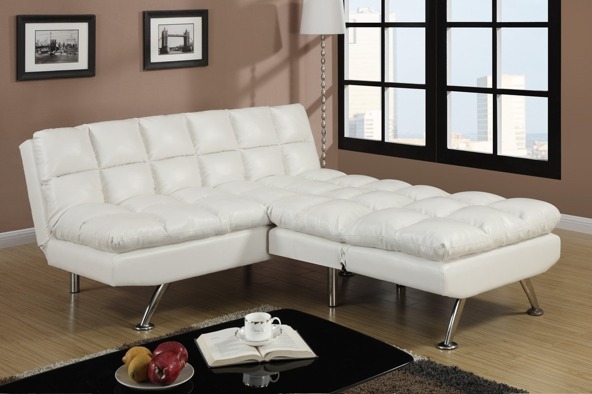 poundex f7015 white twin size leather sofa bed steal a sofa furniture outlet los angeles ca. Black Bedroom Furniture Sets. Home Design Ideas