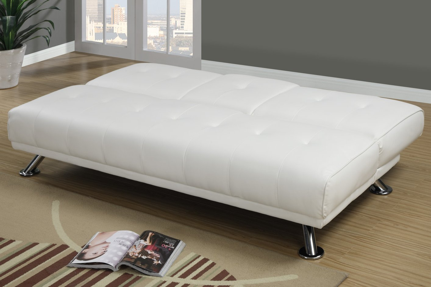 ... White Leather Twin Size Sofa Bed ...