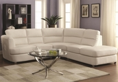 White Metal Sectional Sofa and Ottoman