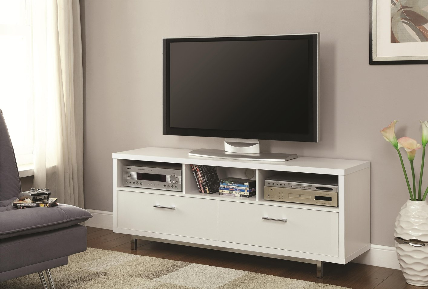 Coaster 701972 white metal tv stand steal a sofa White tv console