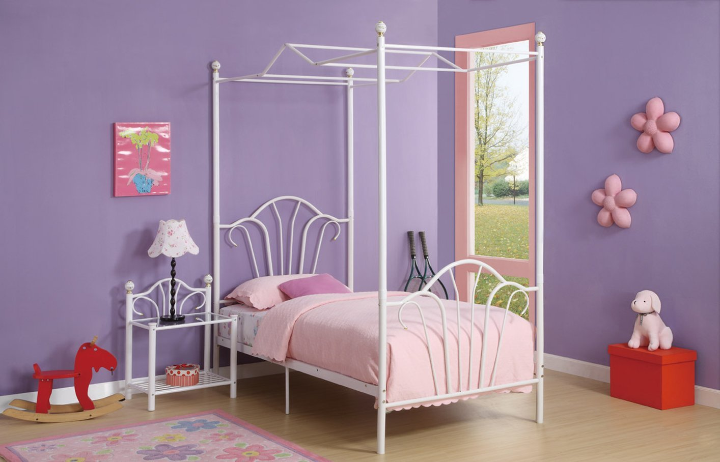 White twin beds for girls -  White Metal Twin Size Bed