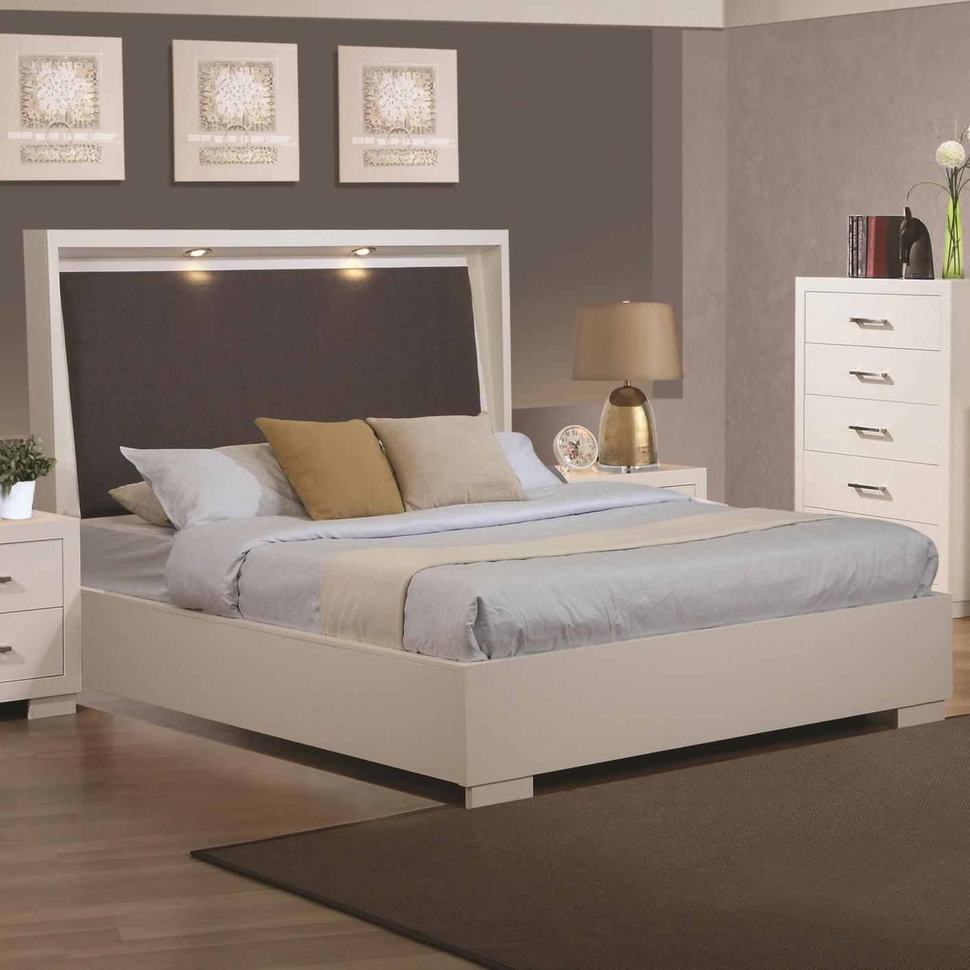 Coaster 200920kw white wood california king size bed for White wood bedroom furniture
