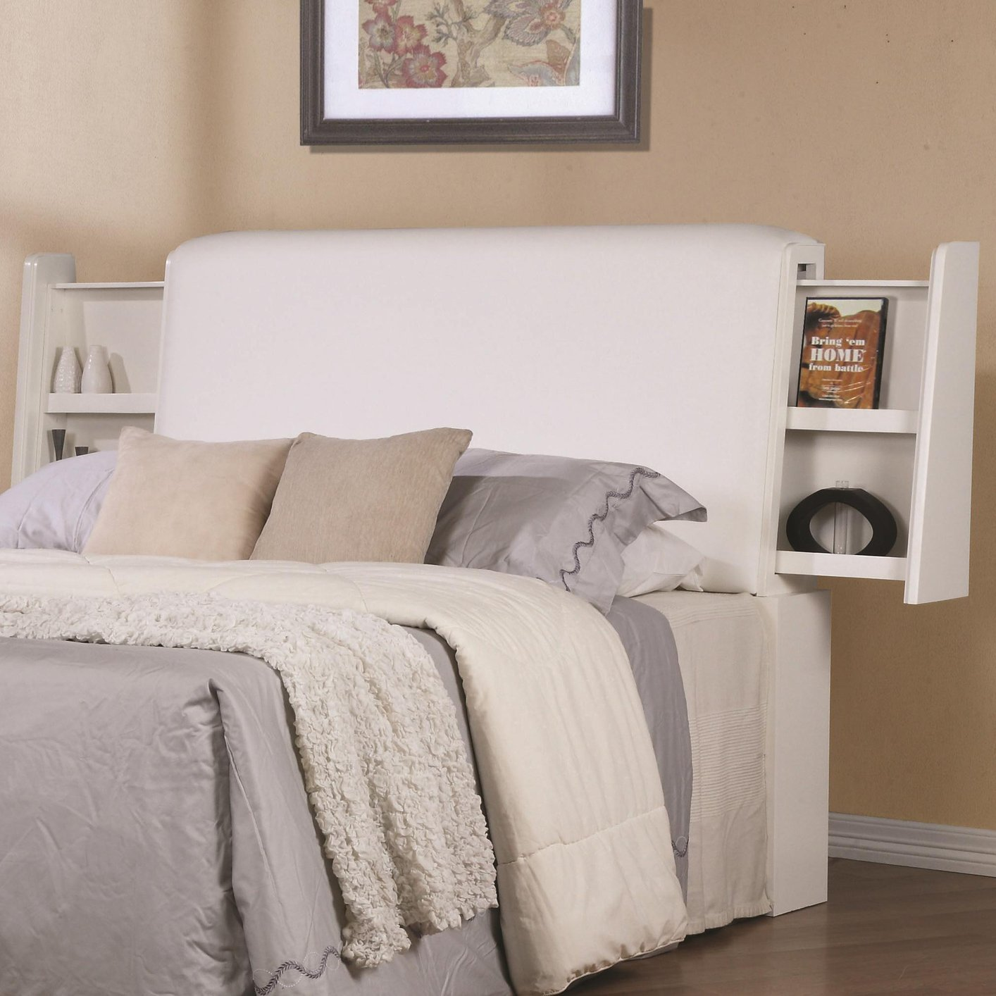 White wood california king size headboard steal a sofa for King size headboard