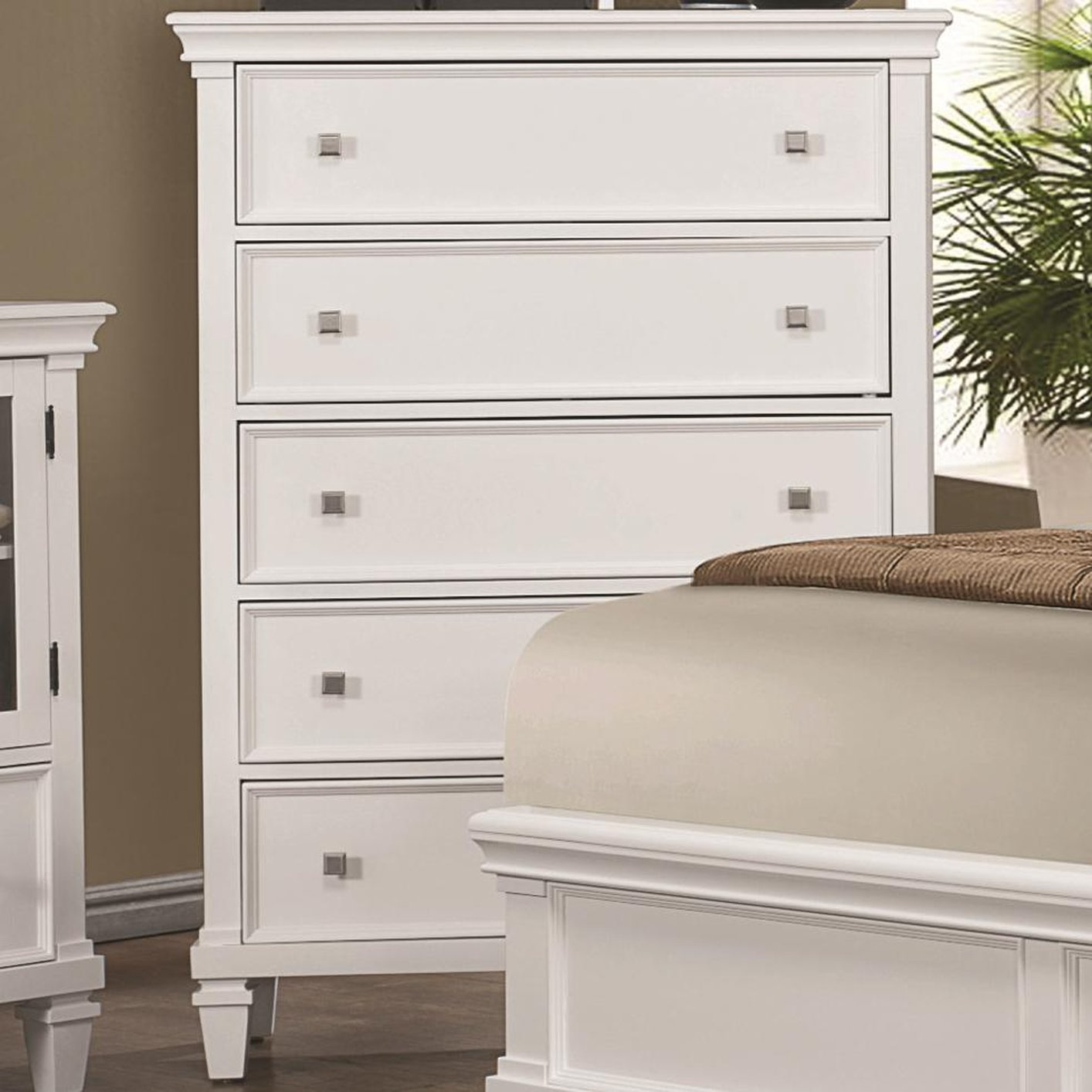 Superb White Wood Chest Of Drawers