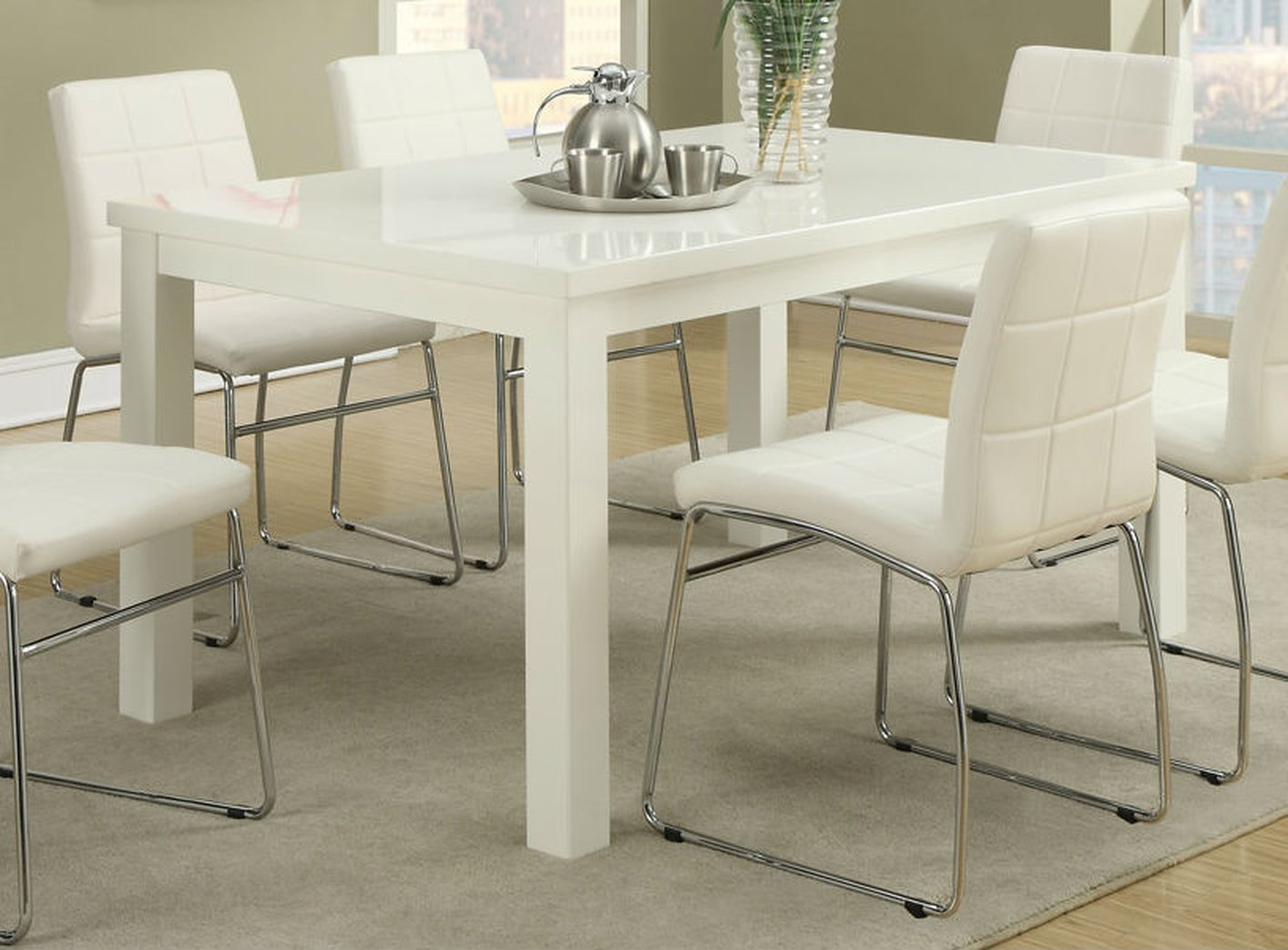Poundex f2407 white wood dining table steal a sofa for White and wood dining table and chairs