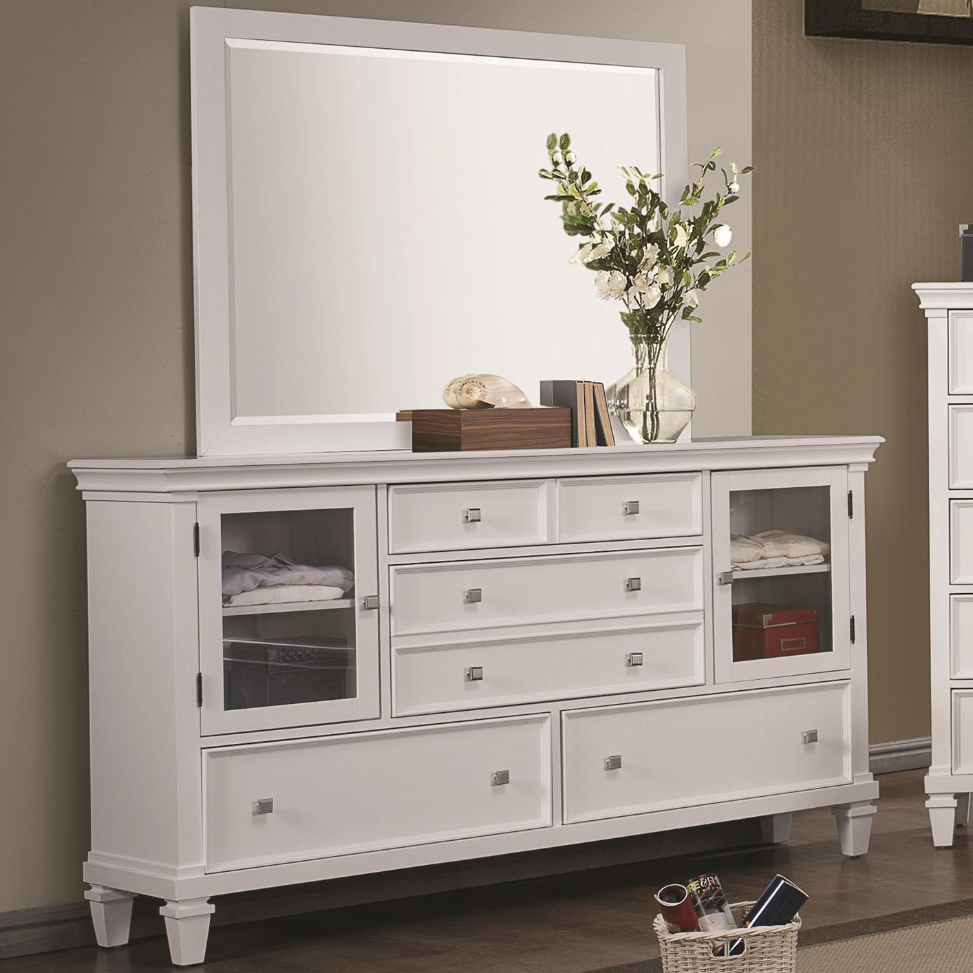 White wood dresser steal a sofa furniture outlet los for Bedroom furniture 90036
