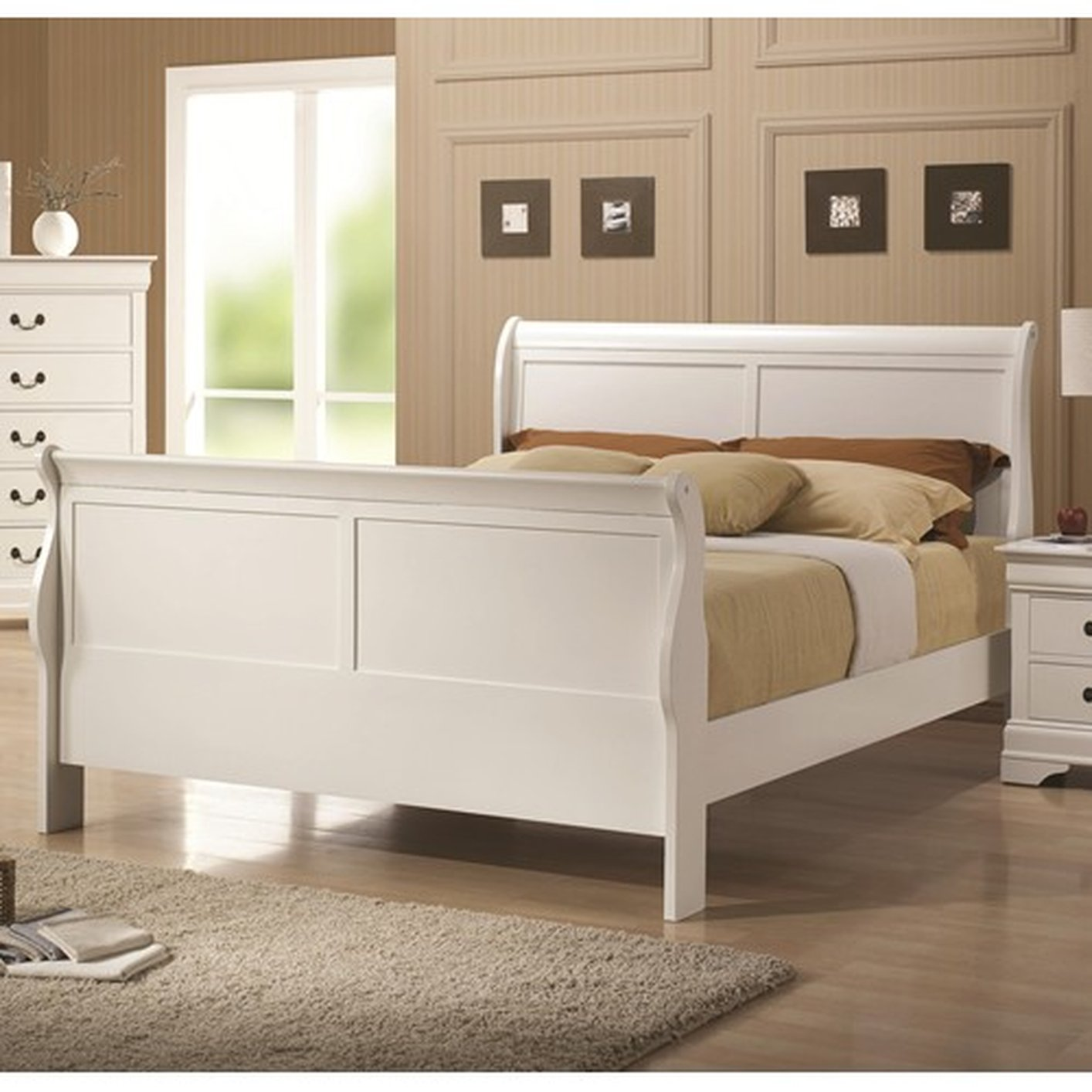 Coaster 204691f white full size wood bed steal a sofa for Bedroom furniture 90036