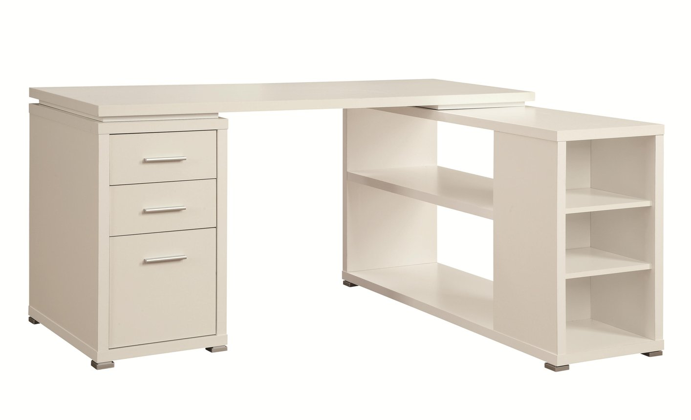 Coaster 800516 White Wood Office Desk  StealASofa Furniture