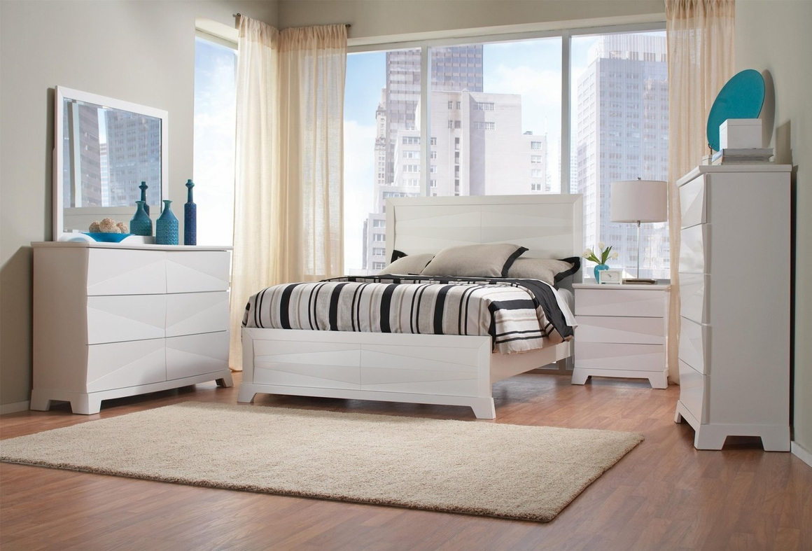 White Wood Queen Size Bed - Steal-A-Sofa Furniture Outlet Los Angeles CA