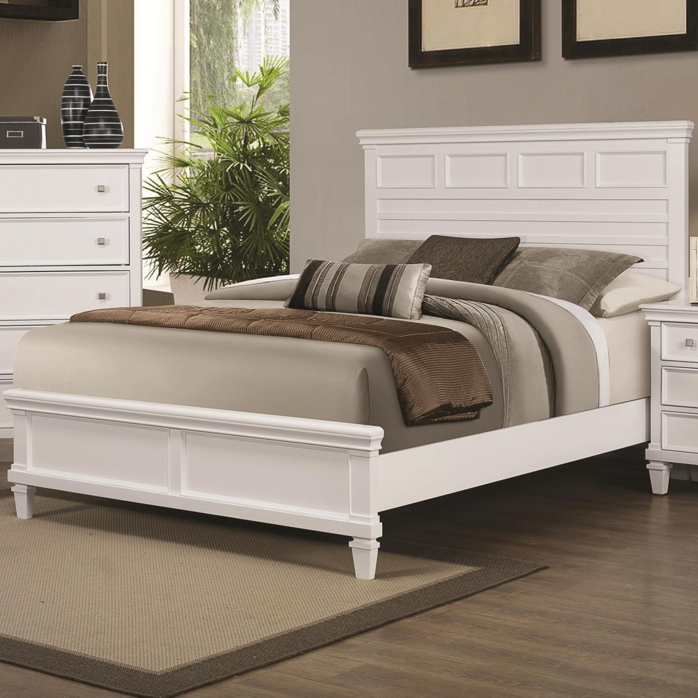 White Wood Queen Size Bed - Steal-A-Sofa Furniture Outlet ...