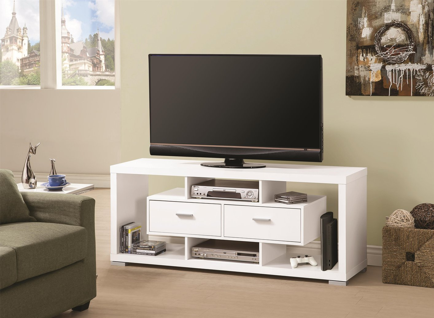 White wood tv stand steal a sofa furniture outlet los White tv console