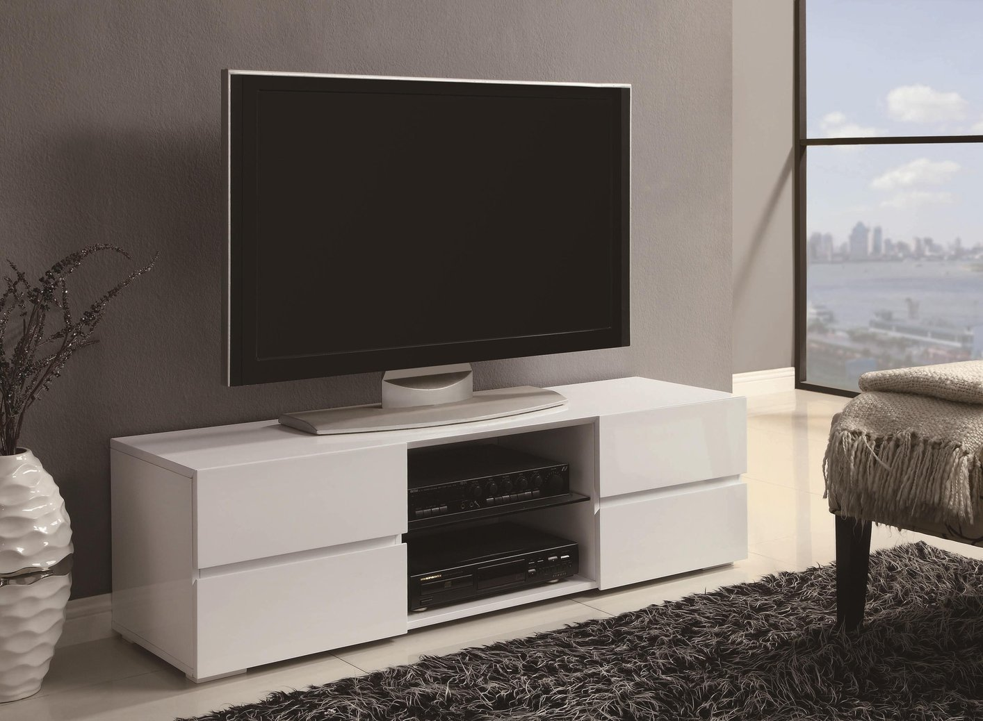 White wood tv stand steal a sofa furniture outlet los for White plasma tv stands