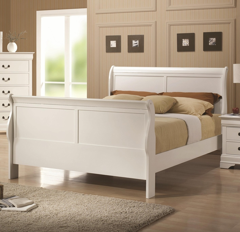 white wood twin size bed - Twin Sleigh Bed