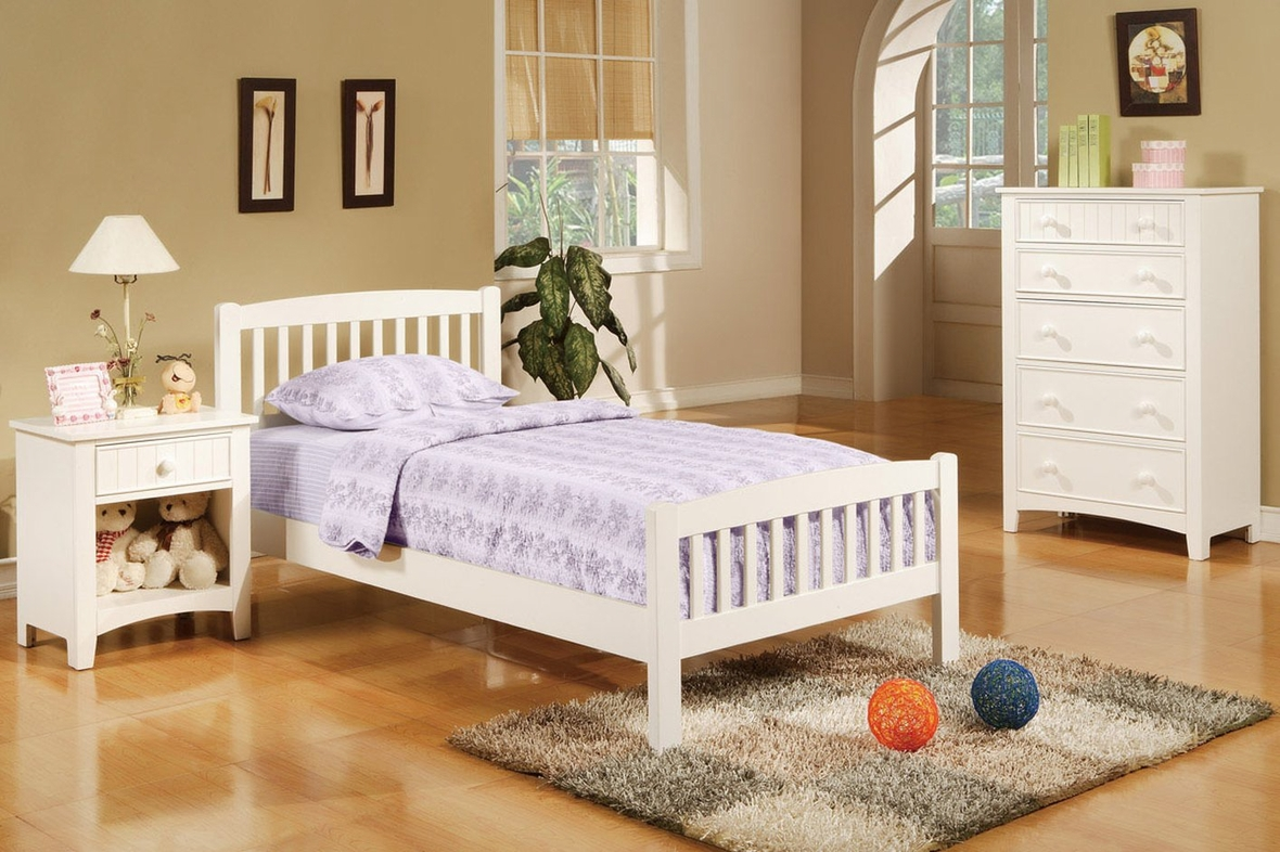 White twin bed set - White Wood Twin Size Bed
