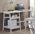 White Wood Writing Desk Set