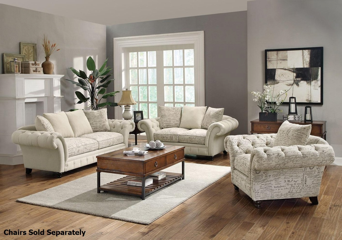 Willow beige fabric sofa and loveseat set steal a sofa - Living room furniture setup ideas ...