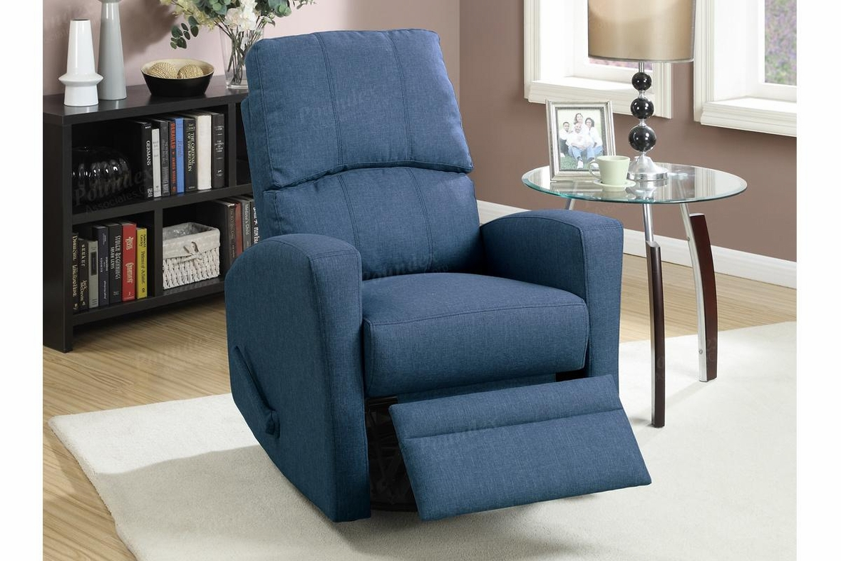 Wiv Blue Fabric Swivel Recliner