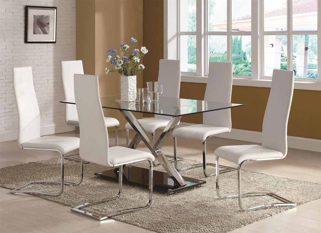 coaster xy 102320 100515wht silver metal and glass dining table set in los angeles ca. Black Bedroom Furniture Sets. Home Design Ideas