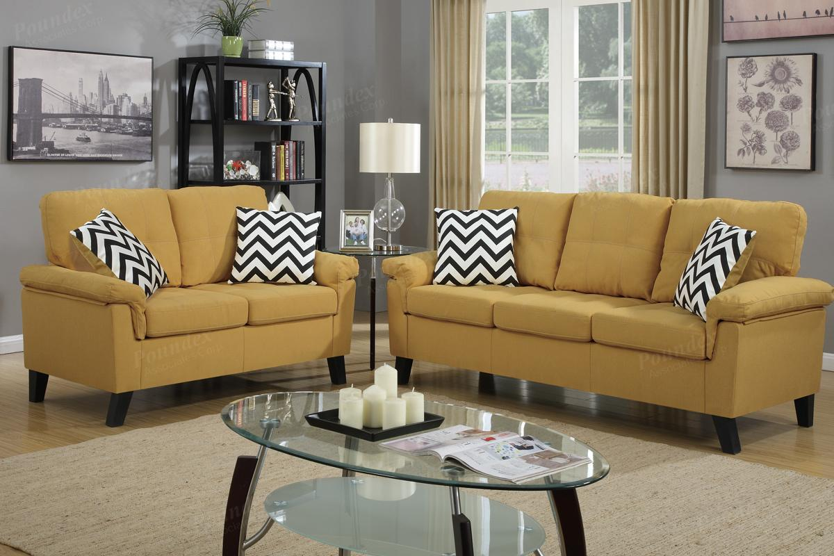 Aron Yellow Fabric Sofa And Loveseat Set