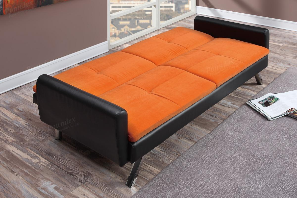 Zed Orange Leather Sofa Bed Zed Orange Leather Sofa Bed ...