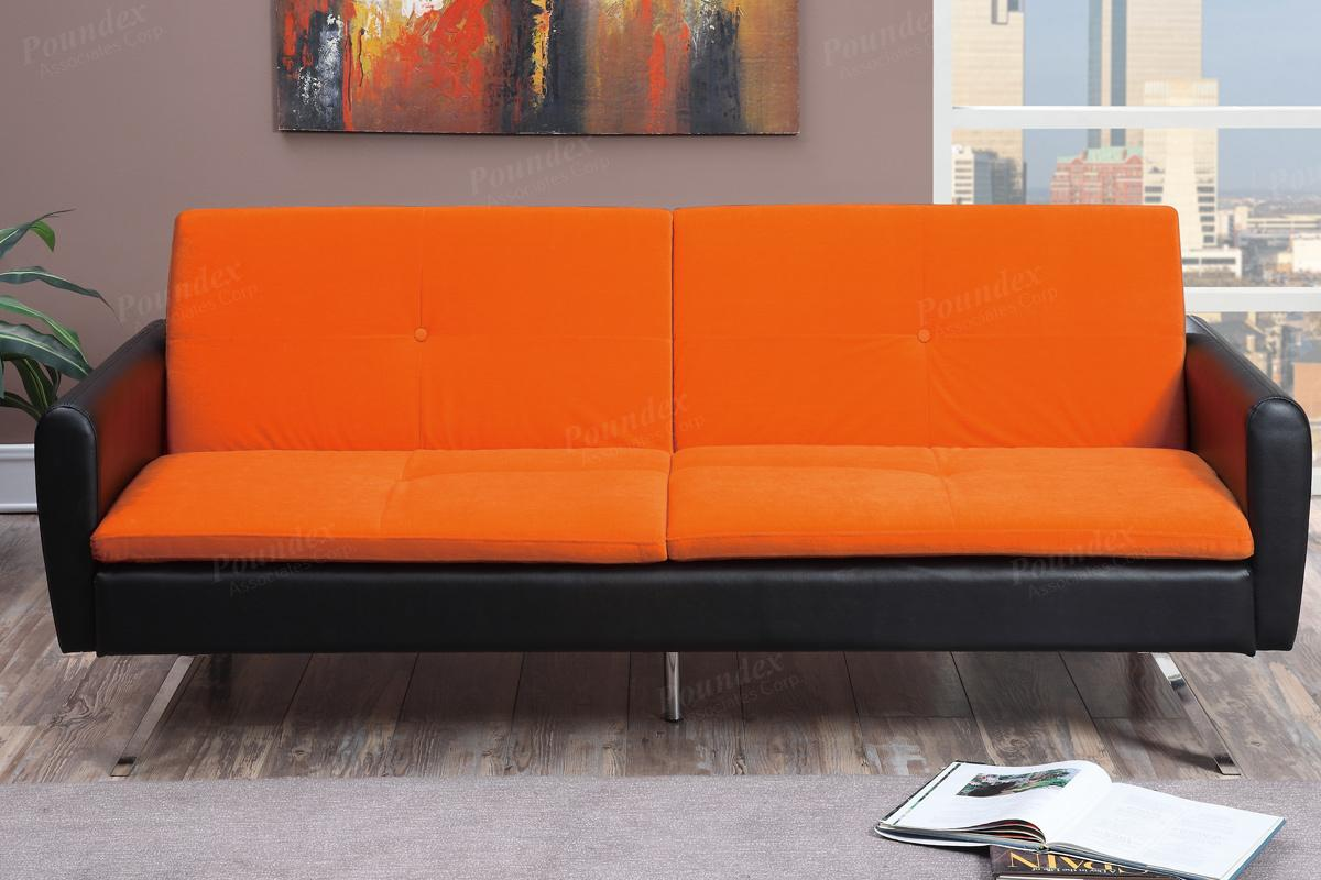 Bon Zed Orange Leather Sofa Bed