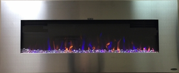 "AudioFlare Stainless 50"" Insert/Recessed Electric Fireplace With 3 Colors and Bluetooth Audio"