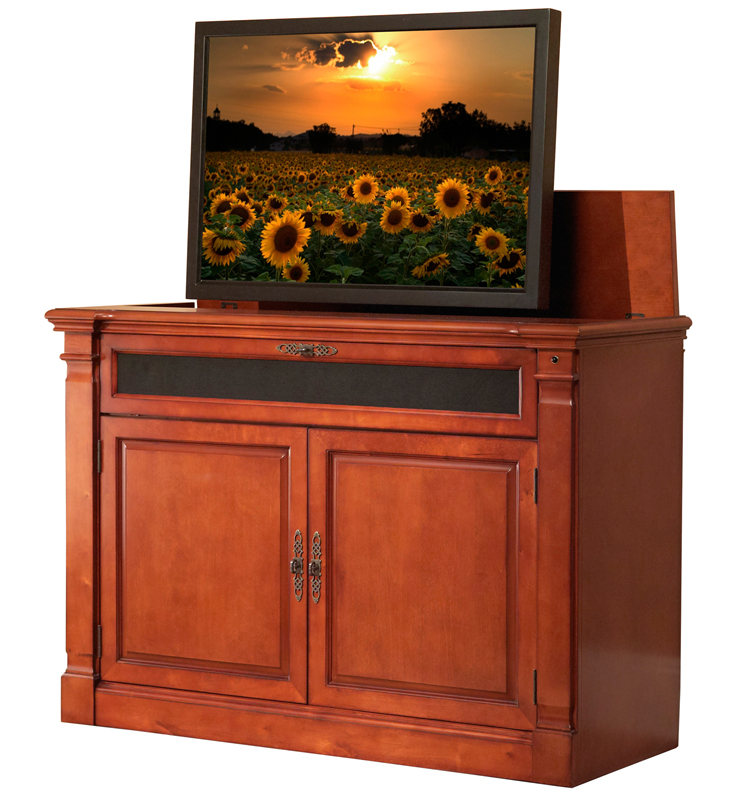 adonzo distressed cherry full size tv lift cabinet for flat screen tvs up to 60. Black Bedroom Furniture Sets. Home Design Ideas