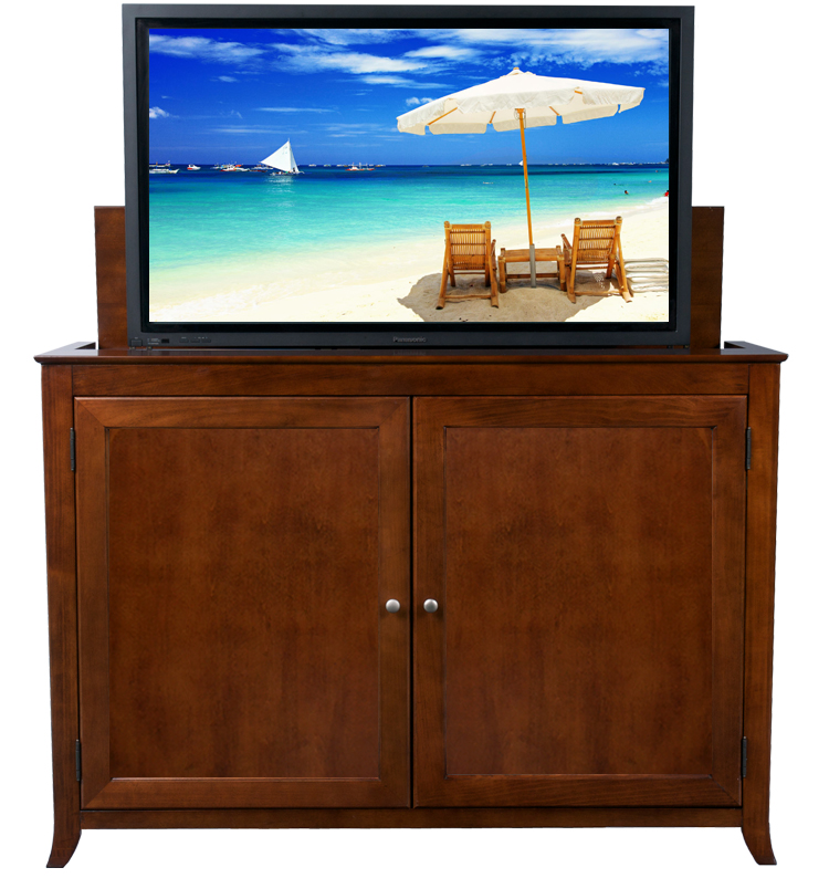 berkeley cherry tv lift cabinet for flat screen tvs up to 60. Black Bedroom Furniture Sets. Home Design Ideas