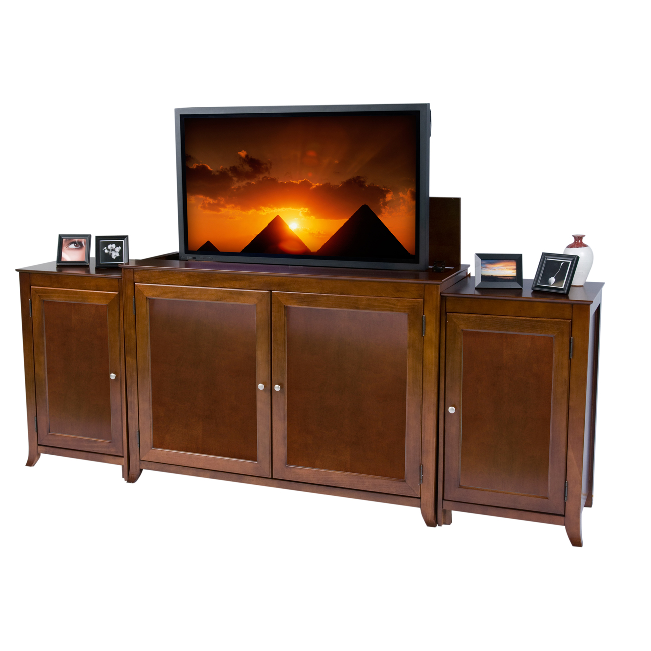 berkeley cherry tv lift cabinet with sides for flat screen tvs up to 60. Black Bedroom Furniture Sets. Home Design Ideas
