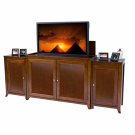 Berkeley Mocha Finish TV Lift Cabinet with Side Cabinets