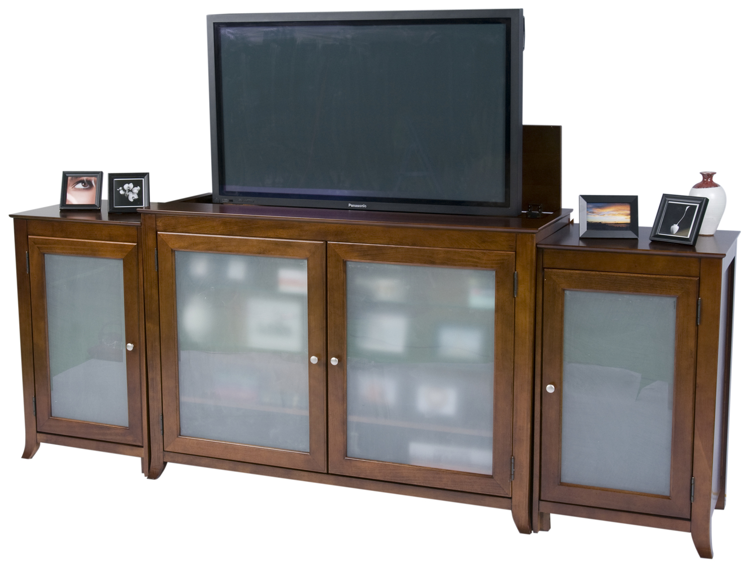 brookside cherry tv lift cabinet with sides for flat screen tvs up to 60. Black Bedroom Furniture Sets. Home Design Ideas