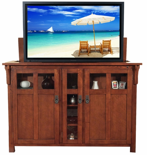 bungalow mission oak tv lift cabinet for flat screen tvs up to 60. Black Bedroom Furniture Sets. Home Design Ideas