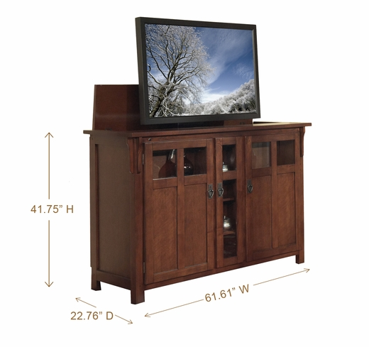 Bungalow mission oak tv lift cabinet for flat screen tvs for Tv cabinets hidden flat screens