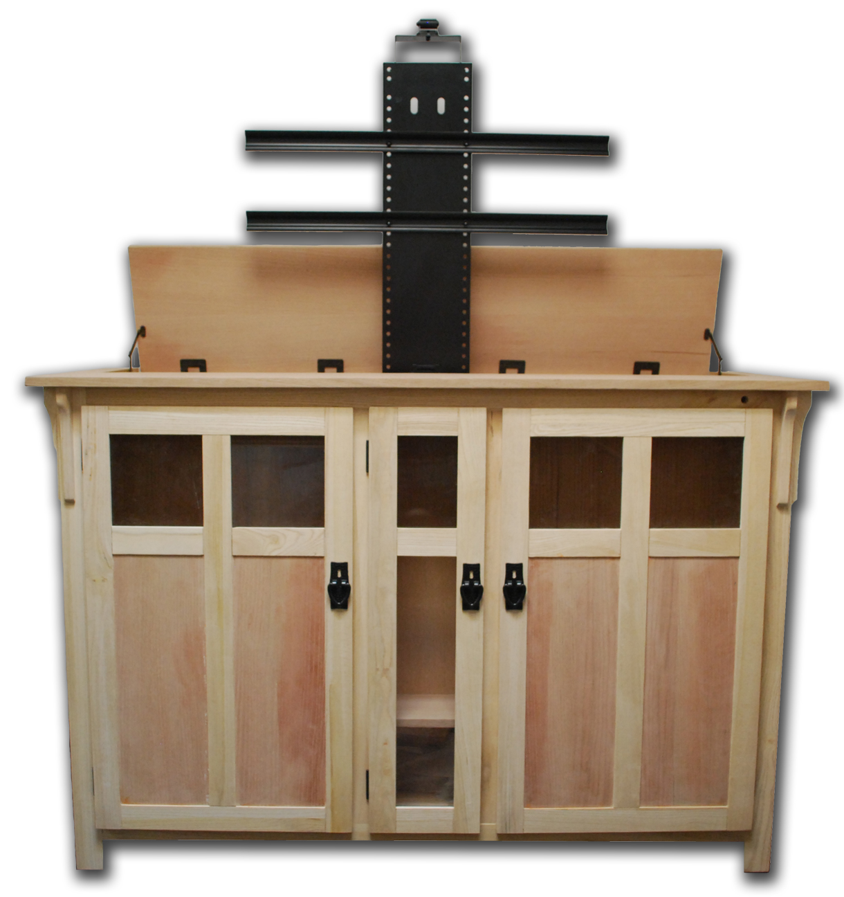 the bungalow unfinished tv lift cabinet for flat screen tvs up to 60. Black Bedroom Furniture Sets. Home Design Ideas