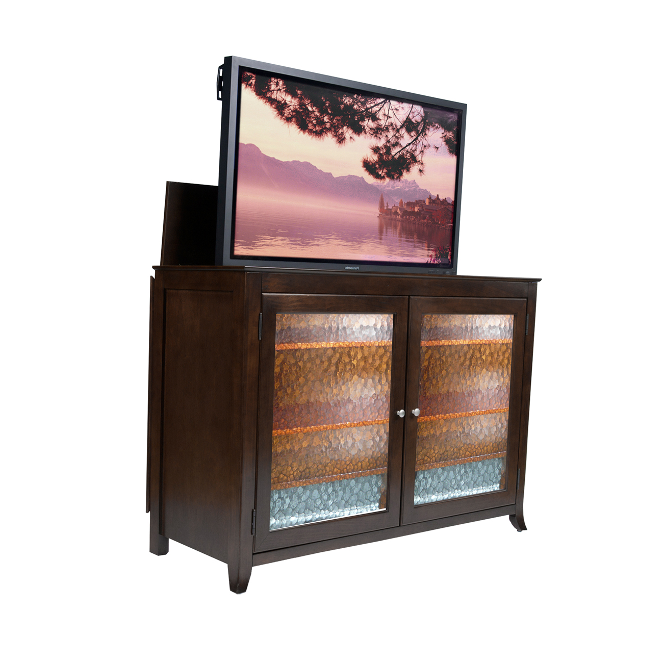 carmel espresso tv lift cabinet for flat screen tvs up to 60. Black Bedroom Furniture Sets. Home Design Ideas
