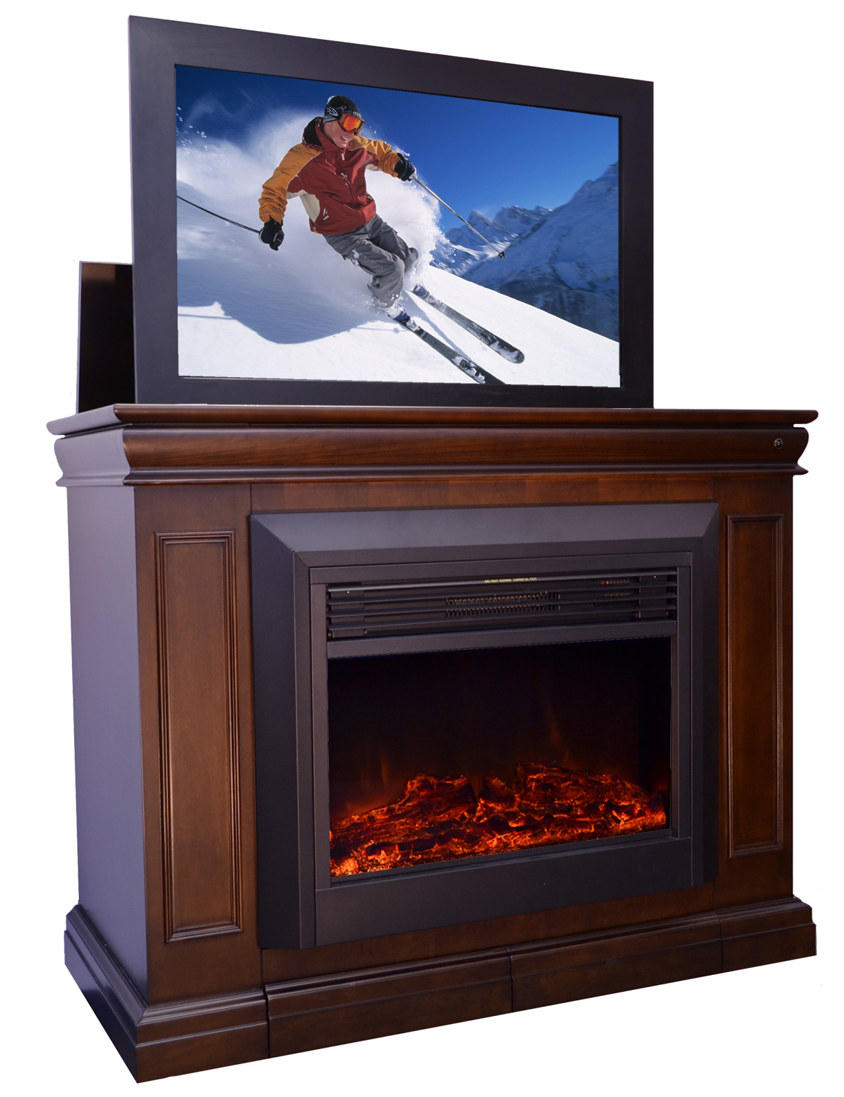 the conestoga tv lift cabinet with electric fireplace for. Black Bedroom Furniture Sets. Home Design Ideas