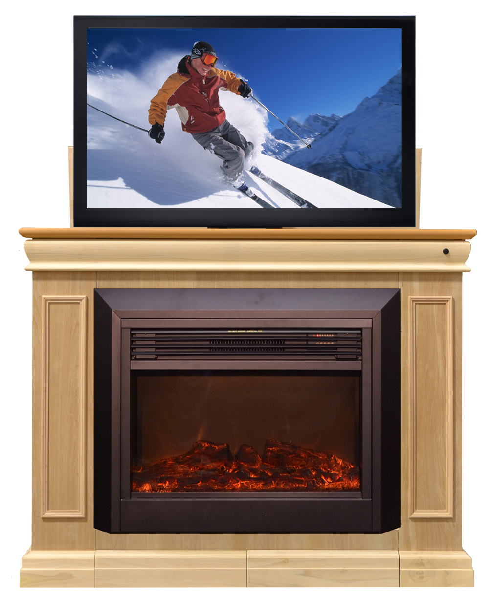 Conestoga fireplace tv lift cabinet for flat screen tvs up for Motorized flat screen tv lift