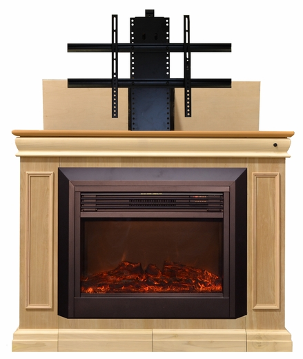 Conestoga fireplace tv lift cabinet for flat screen tvs up for Motorized lift for tv