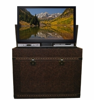 The Elevate™ Vintage Trunk Touchstone's Leather Wrapped TV Lift Cabinet
