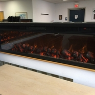 Emblazon 50 Wall-Length Linear Electric Fireplace 50 Inch Wide, Logset, 1500W Heat (Black)