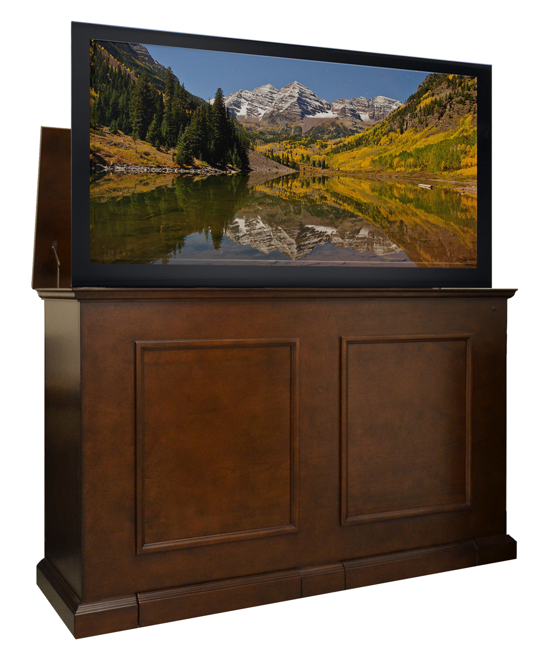 grand elevate espresso tv lift cabinet for flat panel tvs up to 60. Black Bedroom Furniture Sets. Home Design Ideas