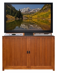 Grand Elevate™ Mission Oak<br>Touchstone's TV Lift Cabinet for TVs up to 65 inches