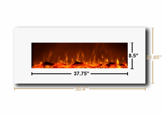 Loading zoom - Contemporary Ivory 50-inch Wall Mounted Electric Fireplace In White