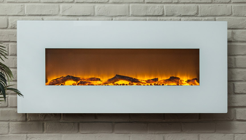 Contemporary ivory 50 inch wall mounted electric fireplace in white - Contemporary fireplaces wall mounted ...