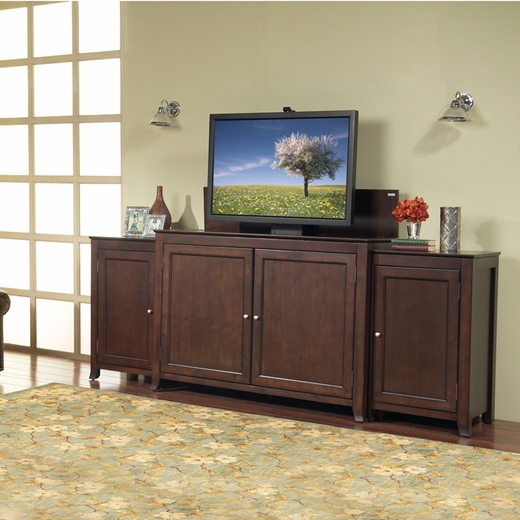 Monterey espresso tv lift cabinet with side cabinets for for Tv lift consoles for flat screens