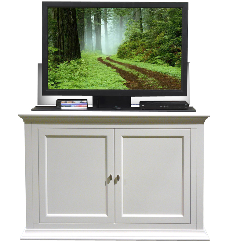 seaford white tv lift cabinet for flat screen tv 39 s up to 46. Black Bedroom Furniture Sets. Home Design Ideas