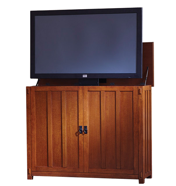 elevate mission tv lift cabinet for flat screen tvs up to 42. Black Bedroom Furniture Sets. Home Design Ideas