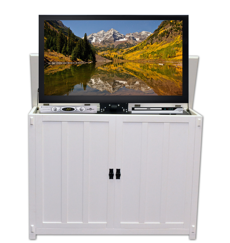 elevate mission white tv lift cabinet for flat screen tvs up to 42. Black Bedroom Furniture Sets. Home Design Ideas