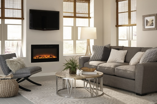 """Sideline 36"""" Wall Recessed Electric Fireplace Black"""